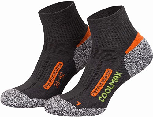 Piarini 2 Paar Coolmax Wandersocken Outdoorsocken Funktionssocken kurz - anthrazit 39-42