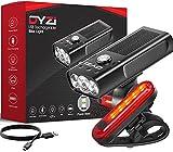 Lumière de vélo DYZI - Rechargeable par Port USB - Set Facile à Installer et à Monter - Lumière de vélo étanche avec Batterie Externe intégrée pour recharger Les appareils
