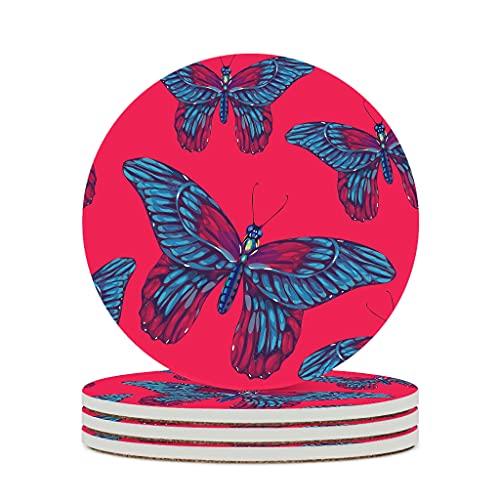 Wraill Posavasos redondos de cerámica con diseño de mariposas, color azul, rojo, juego de 4 o 6 posavasos con base de corcho, para casa, cocina, oficina, color blanco, 4 unidades
