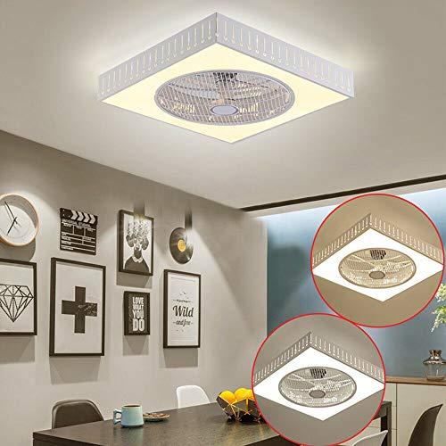 55CM Deckenventilator mit Beleuchtung, Quadrat Ventilator Lampe Licht Einstellbare Fan Deckenleuchte und Fernbedienung für Wohnzimmer Esszimmer (Lichtquelle enthalten)