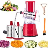 Rotary Cheese Grater Vegetable Slicer Grinder Shredder 3-in-1 Vegetable Shredder Cheese Grater for Potato Cheese Cucumber Carrot Red