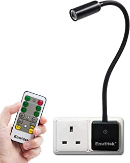 Remote Control Plug In Dimmable 3W LED Spot Bedside Reading Night Light Power Socket Lamp Natural White Lighting 5000K Bri...