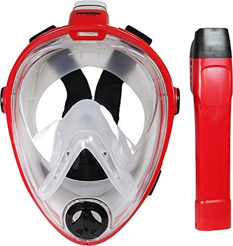 Deep Blue Gear - Vista Vue Full Face Snorkeling Mask, Red/Clear Silicone, Large/X-Large