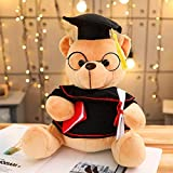 MIAOOWA Official Store 28/35cm Sit High 4 Colors Teddy Bear with Graduation Dress Filled with Animal Bear Plus Toys Teddy Bear Doll Graduate Gift 28 cm Marrón Claro