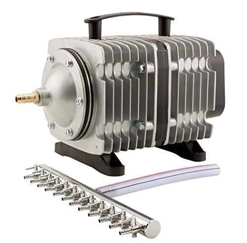 EcoPlus HGC728459 Eco Air7 Air Pump 7-200 Watt Single Outlet, 12 Valve Manifold for Aquarium, Fish Tank, Fountain, Pond & Hydroponics, Commercial 3566 GPH, Silver