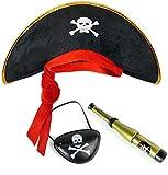 Balinco Set da pirata per bambini, composto da cappello da pirata + benda per gli occhi + cannocchiale – Set per carnevale