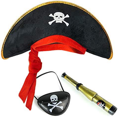 Balinco Piratenset für Kinder bestehend aus Piratenhut + Augenklappe + Fernrohr - Kostüm Set für Fasching / Karneval