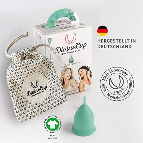 DIVINE CUP Menstruationstasse – Spring Symphony/Mintgrün – Made in Germany – geruchlos – medizinisches Silikon – Alternative zu Tampons und Binden (S – Klein) - 2