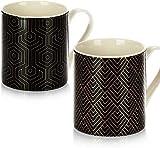 Un juego de 6 tazas de cerámica blanca con asas para café, té, granos de cacao,