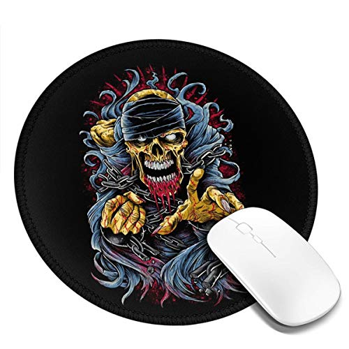 Round Mouse Pad Non-Slip Customized Rubber Base Mouse Mat Cool Art Fashion Skull Blood Bandage Desk Pad Washable Premium-Textured Gaming Mouse Pad for Gaming Office Home Consoles 2 Pcs