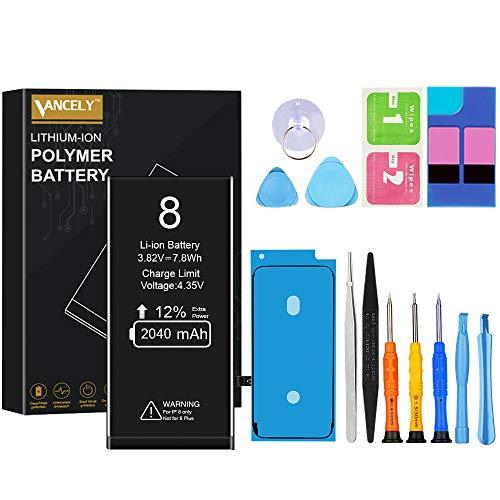 Vancely batterij voor iPhone 8, originele 2040 mAh vervangende batterij met hoge capaciteit met gereedschapsset en reparatieset, batterijvervangingshandleiding, 2 jaar garantie 100%
