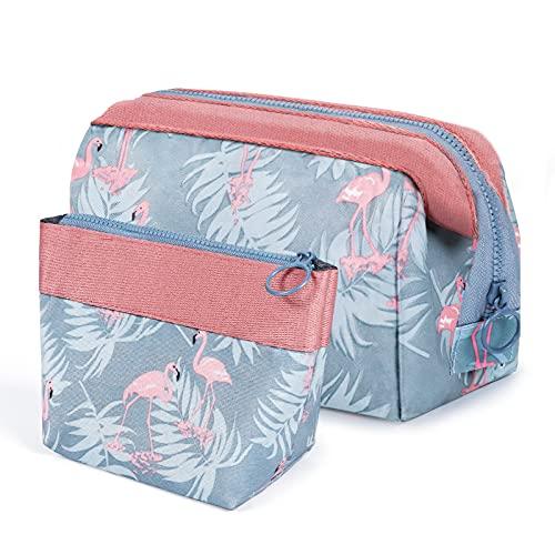 vamei Kosmetiktasche Damen Kosmetiktasche Klein für Handtasche Schminktasche Multifunktionale Reise Kosmetiktaschen Tragbare Waschtasche Flamingo Make-up Tasche für Frau Mädchen Urlaubsreisen