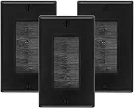 VCE 3-Pack Single Brush Wall Plate Cable Pass Through Insert for Wires, Single Gang Cable Access Strap, Wall Socket for HDTV, Home Theater Systems - Black UL Listed