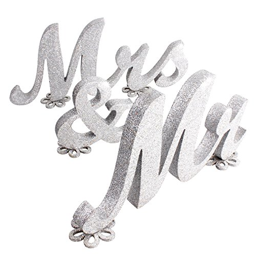 SROOD 36' x 7' Mr and Mrs Sign Wedding Decorations Mr & Mrs Sign Sweetheart Wedding Table Decorations Wooden Letters Silver Glitter