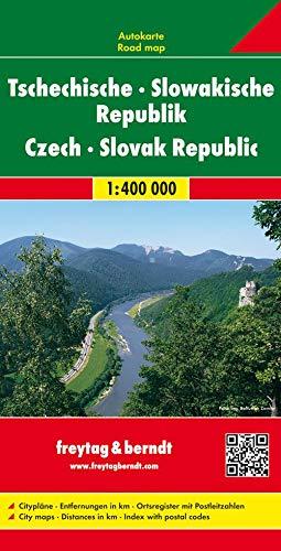 Tschechische - Slowakische Republik, Autokarte 1:400.000: Citypläne, Entfernungen in km, Ortsregister mit Postleitzahlen (freytag & berndt Auto + Freizeitkarten)