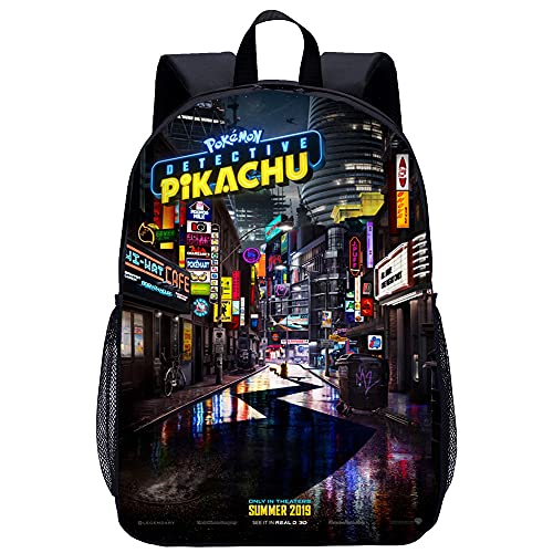 KKASD Mochila para adultos Pokémon Detective Pikachu Mochila escolar de ocio Mochila escolar de senderismo, Bolsa de viaje transpirable, Alcancía, 17 pulgadas