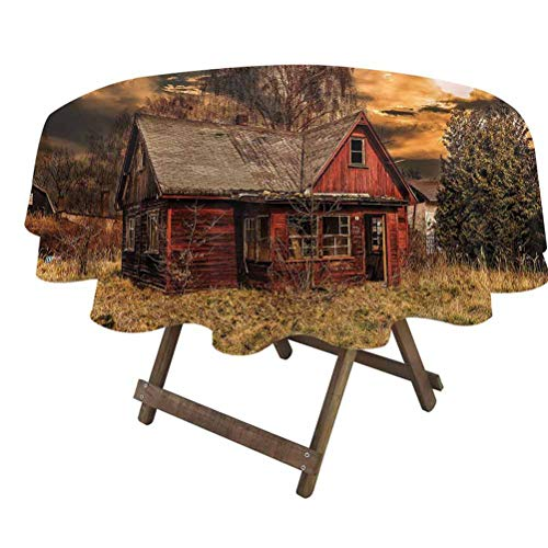 prunushome Scenery Fitted Table Cover Scary Horror Movie Themed Abandoned House in Pale Grass Garden Sunset Photo Print for Dining Room Party Outdoor Picnic Multicolor   36' Round