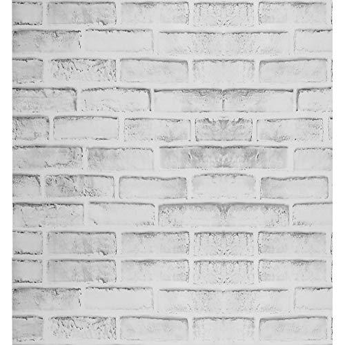 Papel Pintado Blanco Rústico con Efecto de Ladrillo Gris Papel Pintado Rústico Autoadhesivo Papel de Contacto Rollo Papel Pintado con Cáscara y Palo Papel Pintado con Salpicaduras Traseras 44x1000cm