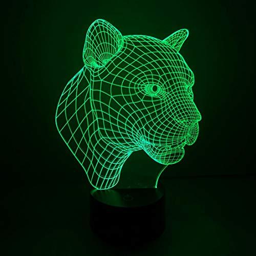 Veilleuse, Leopard style 3D tactile commutateur LED Light Control, 7 Couleur Décoloration Creative visuelle stéréo lampe de bureau lampe Night Light, veilleuse enfant