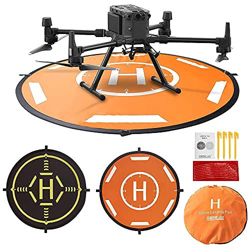 MMOBIEL Piattaforma Universale Drone Landing Pad Impermeabile 50 x 50 cm quadrata, arancione / nero per droni radiocomandati DJI Mavic Mini 2 / Zoom / Air Fly 2 / Phantom / FPV / Inspire