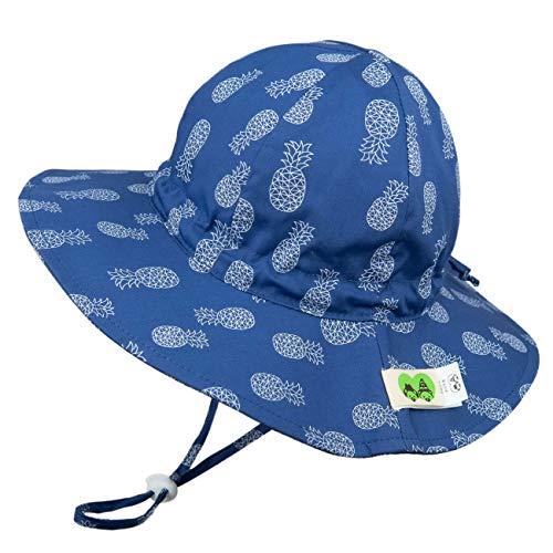 Foruhoo Mädchen Sonnenhüte UPF 50, Verstellbarer Baumwoll Breite Krempe Sommermütze für Baby (54, Ananas)