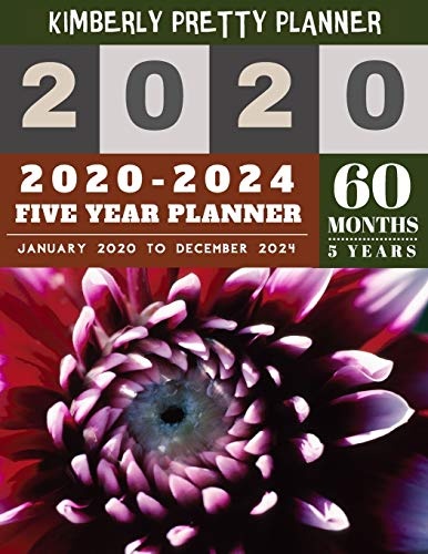 5 Year Monthly Planner 2020-2024: five year monthly planner | 2020-2024 yearly and monthly planner to plan your short to long term goal with username and password record page | Cute Floral Design