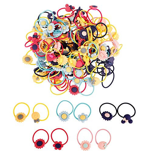 100 Stück Kinder Haargummis Baby Mädchen Haargummis, Mädchen Karikatur Elastische Haargummis Bunte Elastische Haarbänder Schnüre