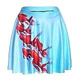 Falda para Mujer,Red Goldfish Animal Estampado 3D De Cintura Alta Falda Plisada Ultra Corta Moda Sexy Primavera Verano Versátil Falda Retro Elástica para Mujeres Fiesta De Niñas Oficina De Moda I