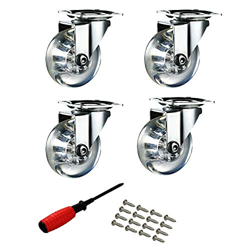 Upone 2 Inch Clear Heavy Duty Swivel Rubber Caster Wheels with 360 Degree Top Plate 400 Lbs Total Capacity (with Screws and Screwdrivers) - 100 lbs Each, Pack of 4