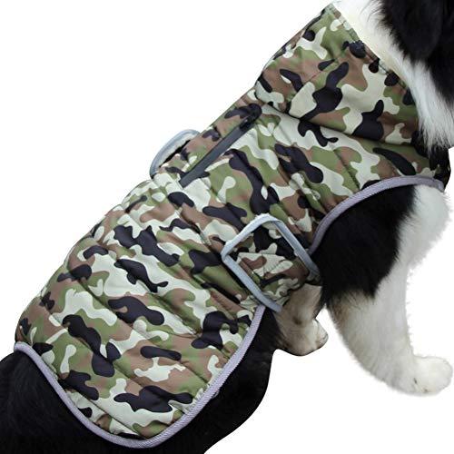 JoyDaog Sudadera de forro polar para perros pequeños, cálida chaqueta de cachorro para invierno frío, abrigos de perro impermeables con capucha, camuflaje verde S