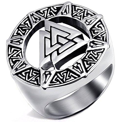 mendino Herren Edelstahl Ring Band Viking Valknut-scandinavn Isländische Odin Symbol nordischen Silber Farbe mit 1x Samtbeutel - 57 (18.1)