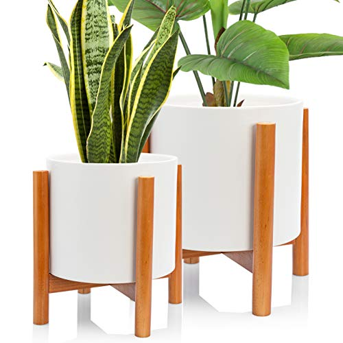 Kimisty Set 2 Mid Century Modern Ceramic Planters with Stand 8 Inch & 6 Inch Diameter, Large White Plant Pots with Wood Stand, Standing Planters with Drainage and a Plug