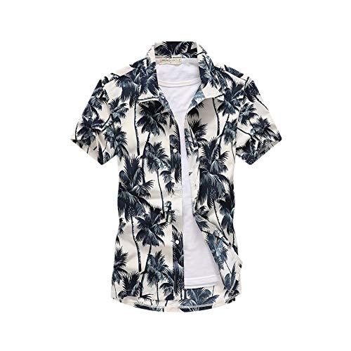 Fansu Camicia Hawaiana Uomo, Motivo Estivo con di Palme Funky 3D Stampa Manica Corta Casual Fit Shirt Vari Colori (M,Cocco Bianco)