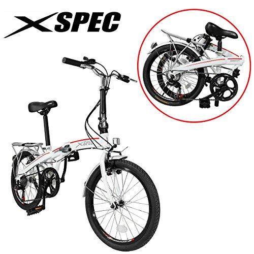 Xspec 20' 7 Speed City Folding Mini Compact Bike Bicycle Urban Commuter White