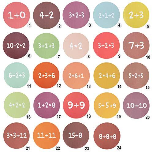 Oblique Unique® 24 Adventskalender Sticker Zahlen Aufkleber für Weihnachten zum Basteln und Verzieren - wählbar (Mathe Mix)