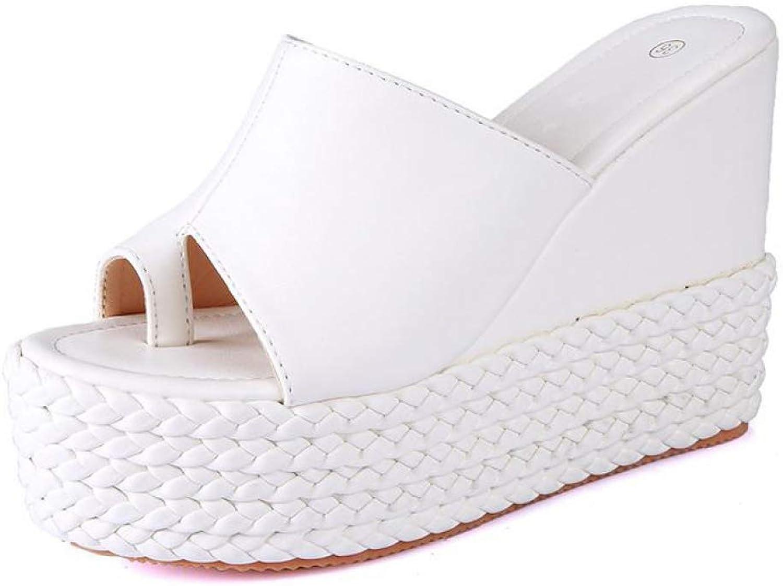 JOYBI Women Clip Toe Slides Sandal Summer Non-Skid Thick Soled Slip-On Wedges Platform High Heels Sandals