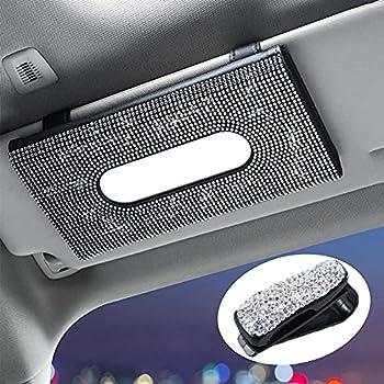 Tmtamye Bling Tissue Holder for car car Tissue Box Holder Visor,mask Dispenser for car,Kleenex Holder for auto,car Napkin Holder,PU Leather Backseat Tissue Case Car Accessories for Women White
