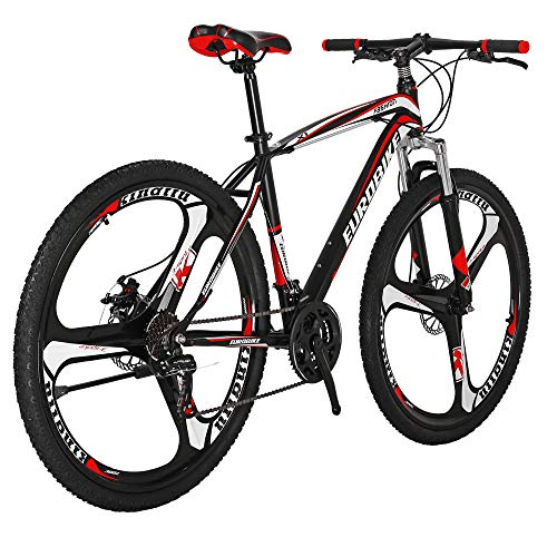 Hybike Mountain Bikes HYX1 27.5 Inches 3 Spoke Wheels 21 Speed Mountain Bicycle Dual Disc Brake Bicycle Blackred