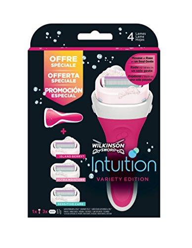 Wilkinson Sword Intuition PACK Variety Edition - Máquina de Afeitar Recargable Femenina de 4 Hojas con Jabón Hidratante + 3 Recambios de Cuchillas Autoadaptables , Kit Depilación de Mujer