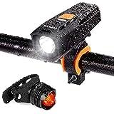 自転車 ライト 自転車ヘッドライト テールライト付き 大容量2000mAh USB充電式 LEDヘッドライト 450ルーメン 高輝度 IPX65防水 5種モード クロスバイク ロードバイク ライト 懐中電灯兼用 停電対応 取付け簡単 日本語説明書付き