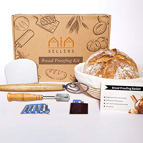 9 inch Banneton Bread Proofing Kit : Sourdough Bread Maker Danish dough Whisk Large Wicker Basket + Bread Scorer Lame + Dough Scraper Tool + Linen Liner Cloth + Banneton Proofing Basket