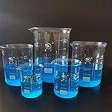 WUTINGKONG Frascos de Laboratorio de 5 unids/Set 200ml / 300ml / 800ml / 1000ml / 2000ml Vidrio de borosilicato de borosilicato de Forma Baja de Vidrio de Vidrio de la química de la química de la pa