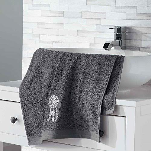 douceur d'intérieur 2 gants de toilette 16x21 cm eponge brodee talisman anthracite