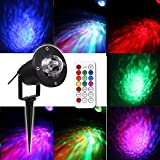 KOOT Water Ocean Wave Christmas Light Projector, 10 Multi Colors Garden Lights Memory Mode Outdoor Indoor Aluminum Light Water Effect or Fire Effect Waterproof with New IR Remote for Party(New)