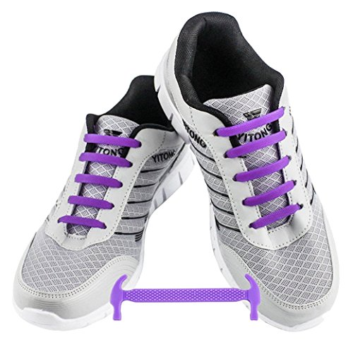 WELKOO® Cordones elásticos de silicona sin nudo impermeables para calzado de niños -12 pza,Talla NIÑO púrpura
