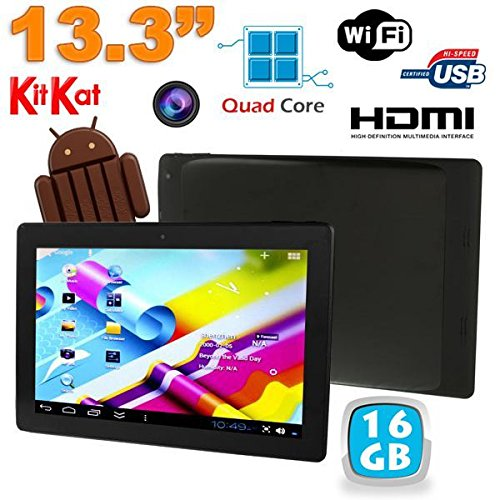 YONIS - Tablette tactile 13 pouces Android 4.4 KitKat WiFi Bluetooth 16Go Noir