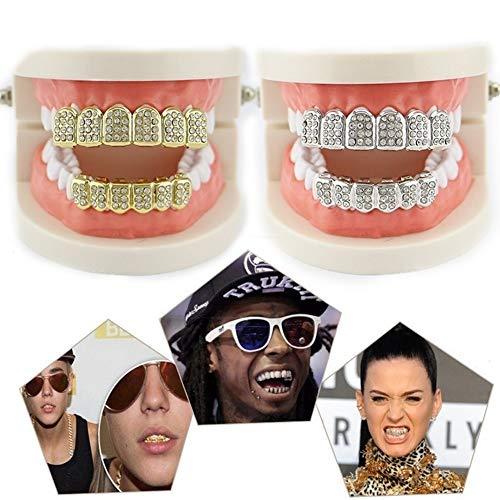Macabolo Abnehmbare Zähne, Hip-Hop-Attrape, glänzende Perlen, eingelegter oberer und unterer Zahnersatz für Halloween-Party
