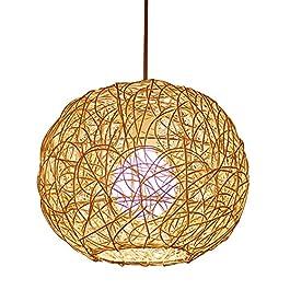 CSSYKV Lustre en Rotin De Style Chinois Moderne en Osier Tissé À La Main Lampe Suspendue Circulaire Rétro Créatif…
