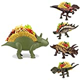 Dinosaur Taco Holders - TriceraTaco Ultimate Stand and Set of 4 Dinos that Fold Flat for Compact Storage
