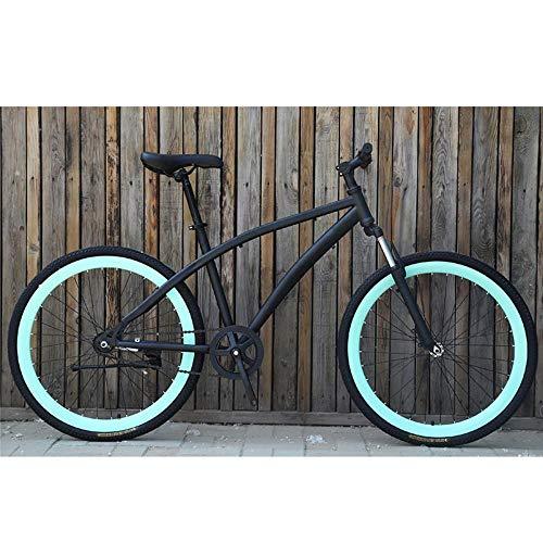 YDZBicicleta de Carretera Amortiguador de Engranaje Fijo Color de Bicicleta Freno de Bicicleta de Estudiante Retro, Bianchi Negro, (155cm-185cm)